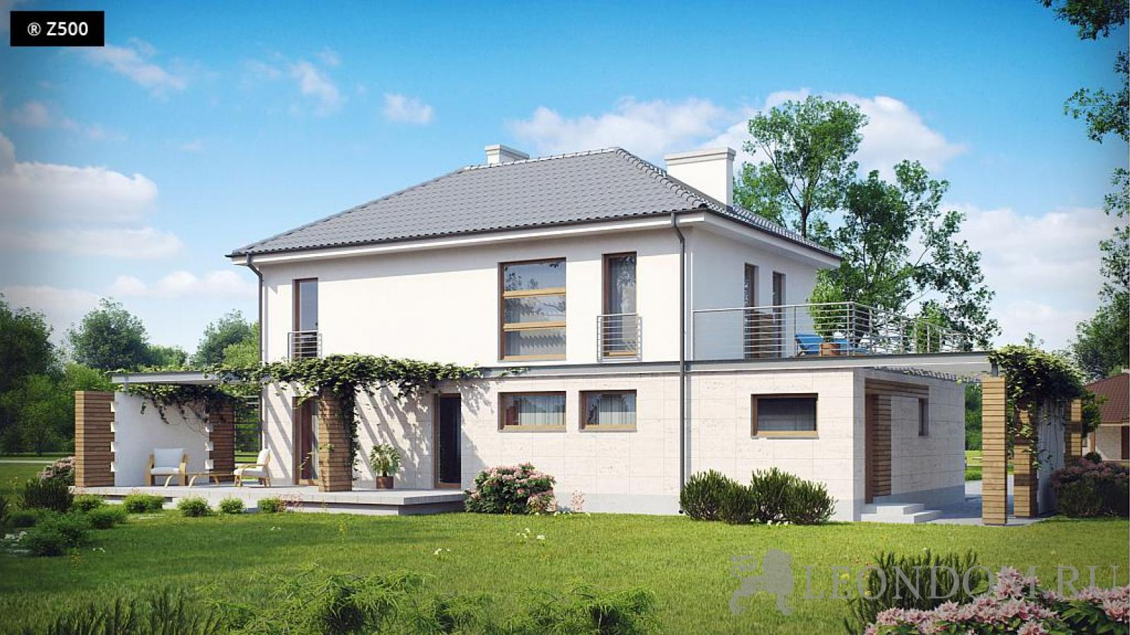 Zx6 проект дома с просторной террасой над гаражом s3-192-2.